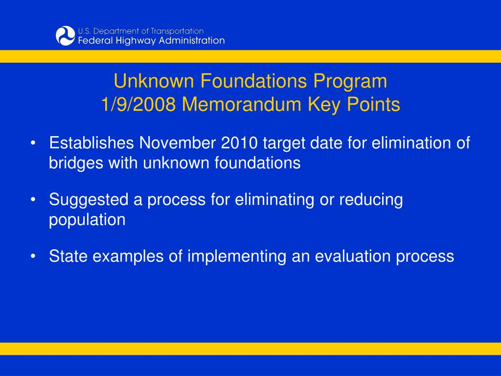 Unknown Foundations Program