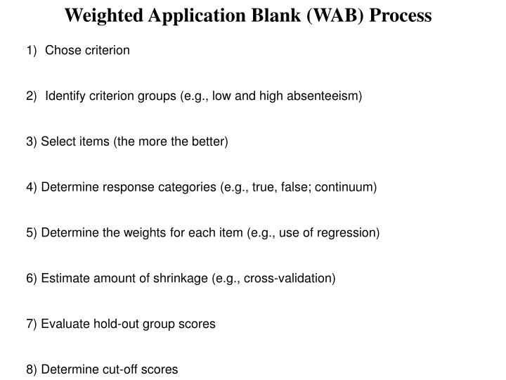 PPT - Weighted Application Blank (WAB) Process PowerPoint ...