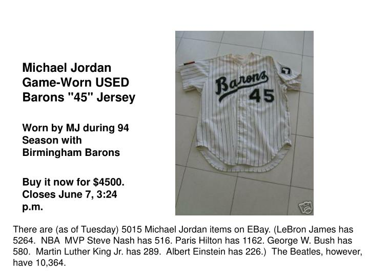 "Michael Jordan Game-Worn USED Barons ""45"" Jersey"