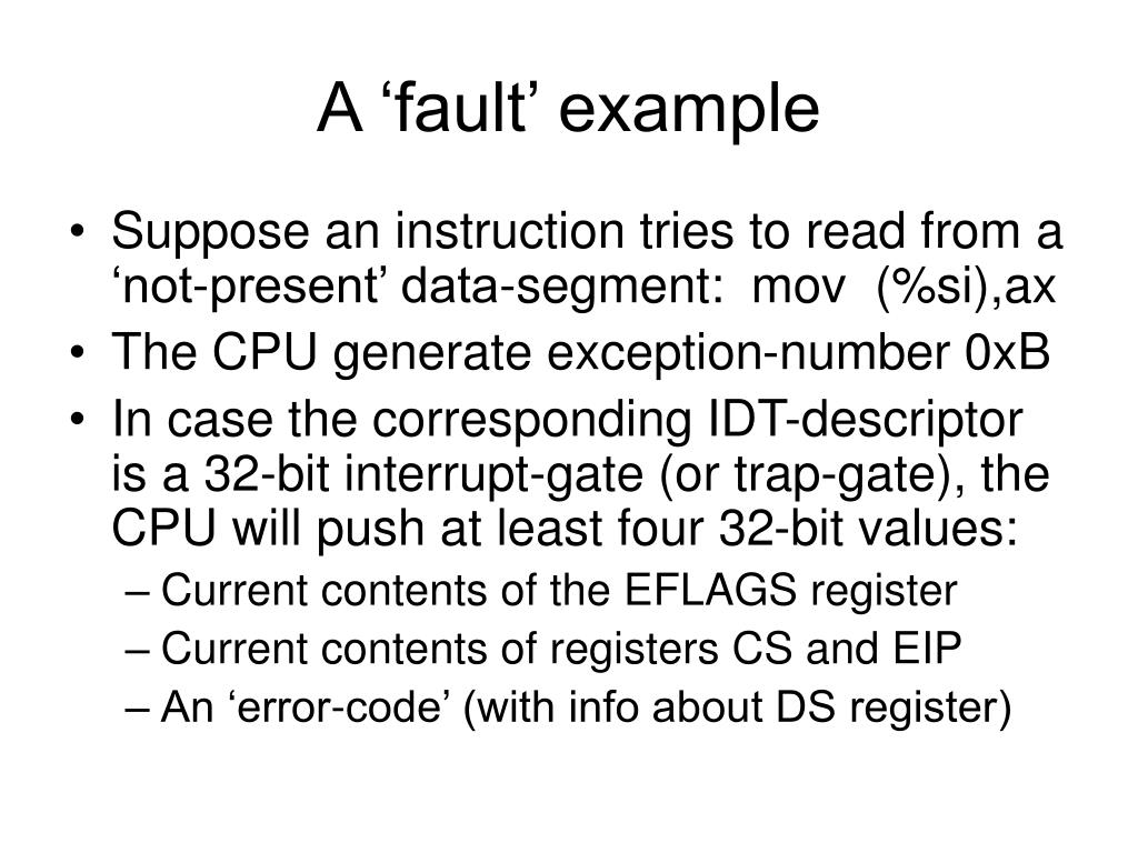 A 'fault' example
