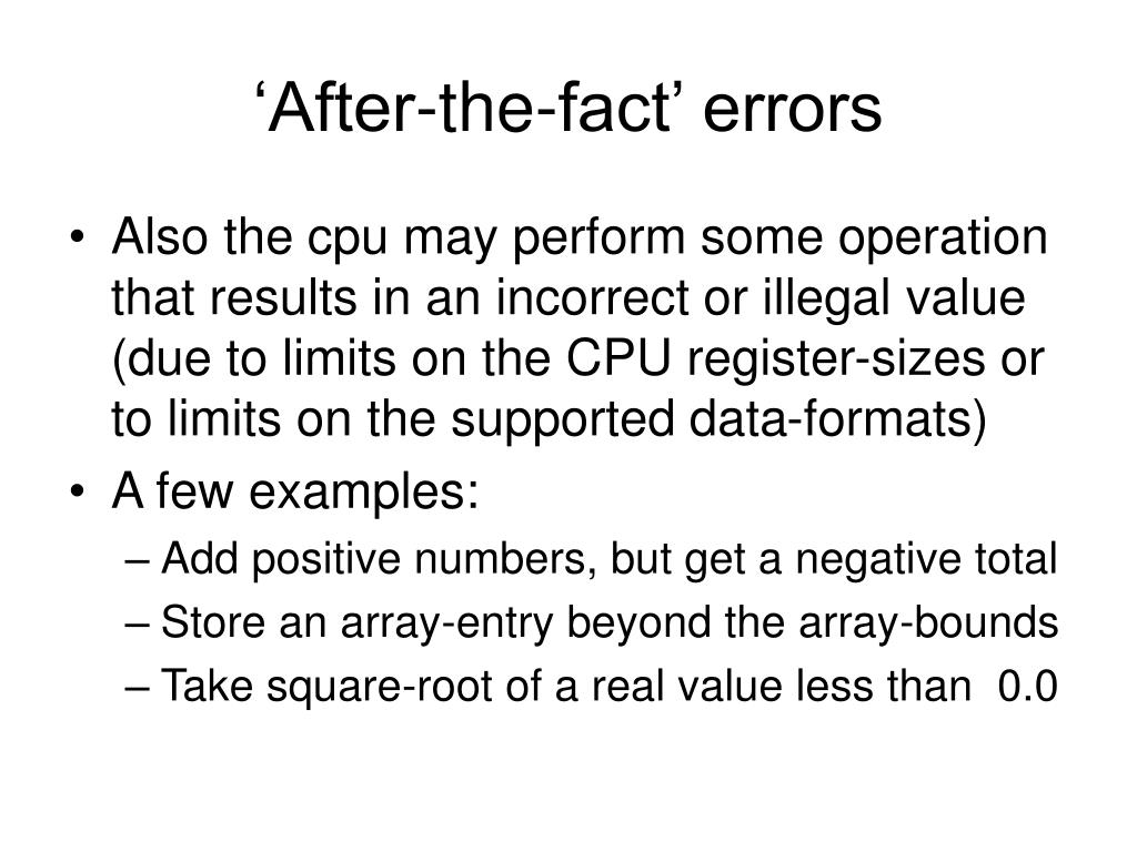 'After-the-fact' errors