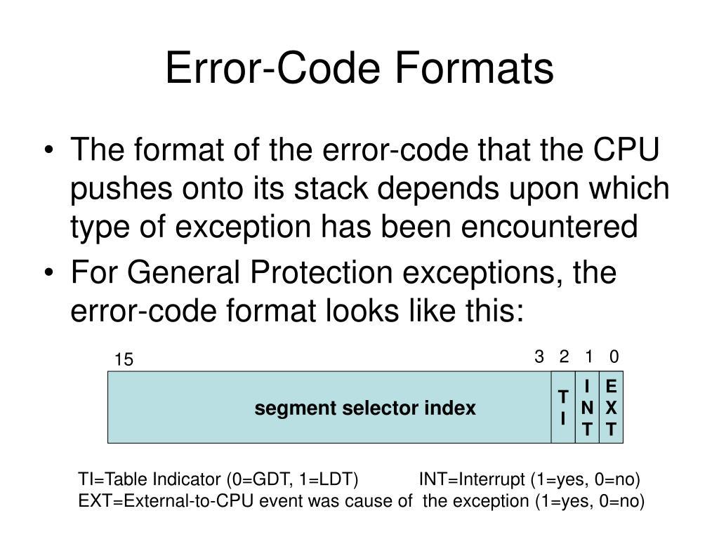 Error-Code Formats