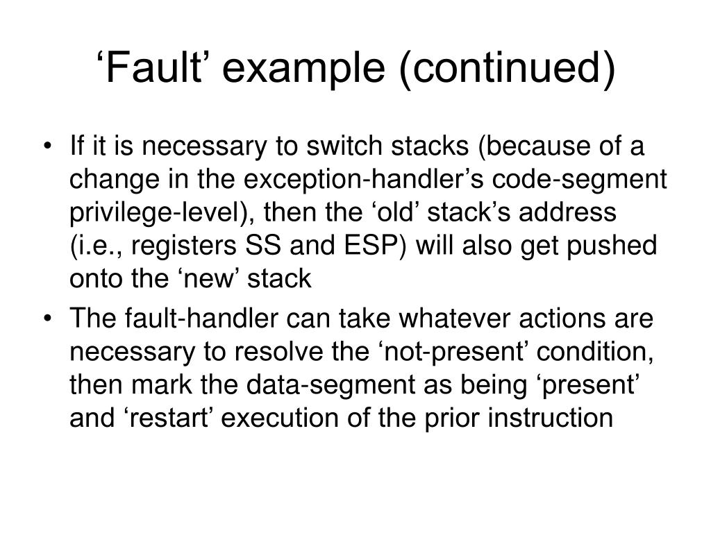 'Fault' example (continued)