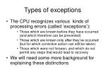 types of exceptions