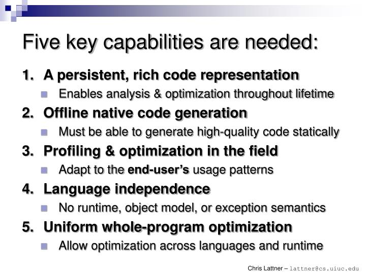 Five key capabilities are needed