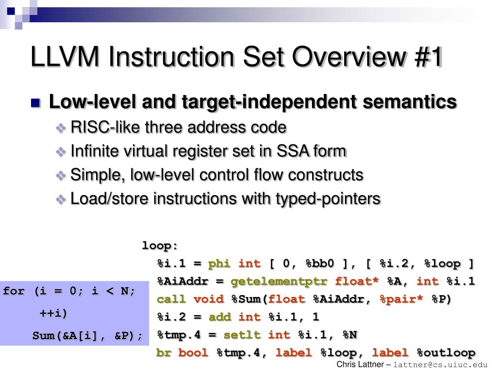 LLVM Instruction Set Overview #1