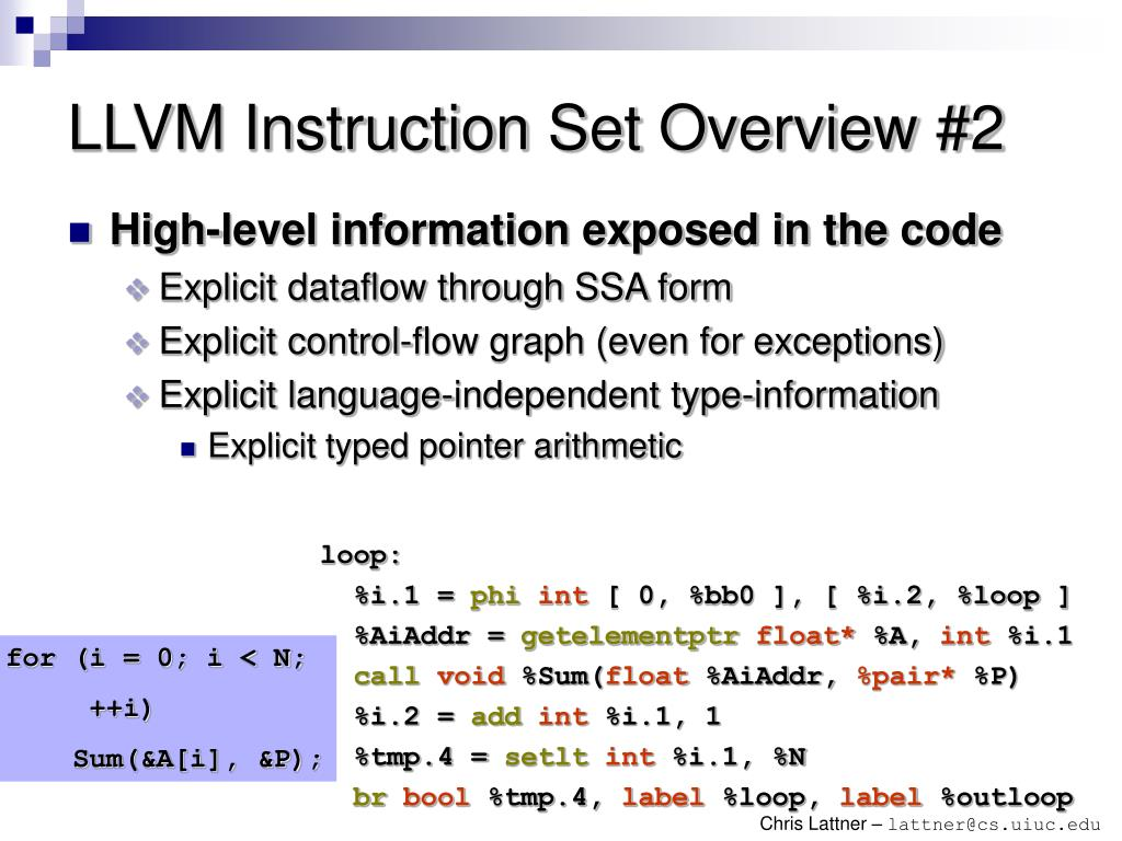 LLVM Instruction Set Overview #2