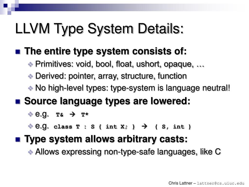 LLVM Type System Details: