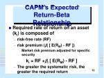capm s expected return beta relationship