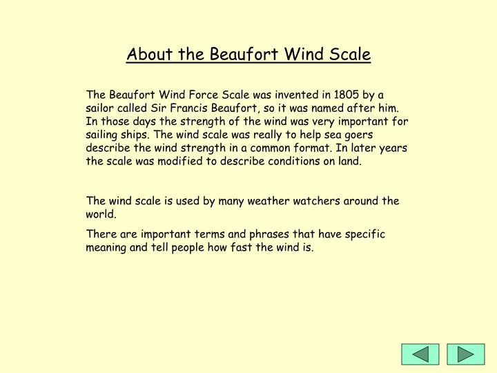 About the Beaufort Wind Scale