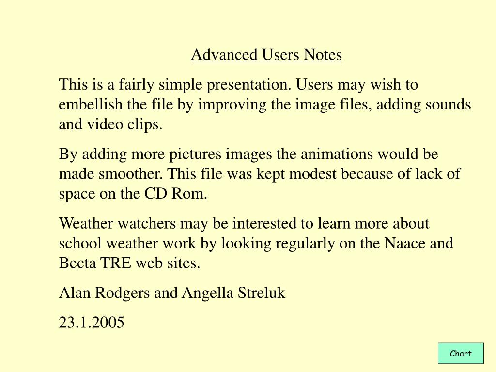 Advanced Users Notes