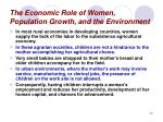the economic role of women population growth and the environment