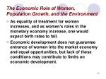 the economic role of women population growth and the environment23