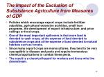 the impact of the exclusion of subsistence agriculture from measures of gdp28