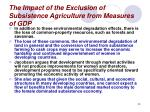 the impact of the exclusion of subsistence agriculture from measures of gdp29