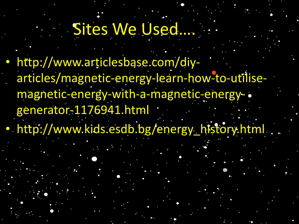 Sites We Used….