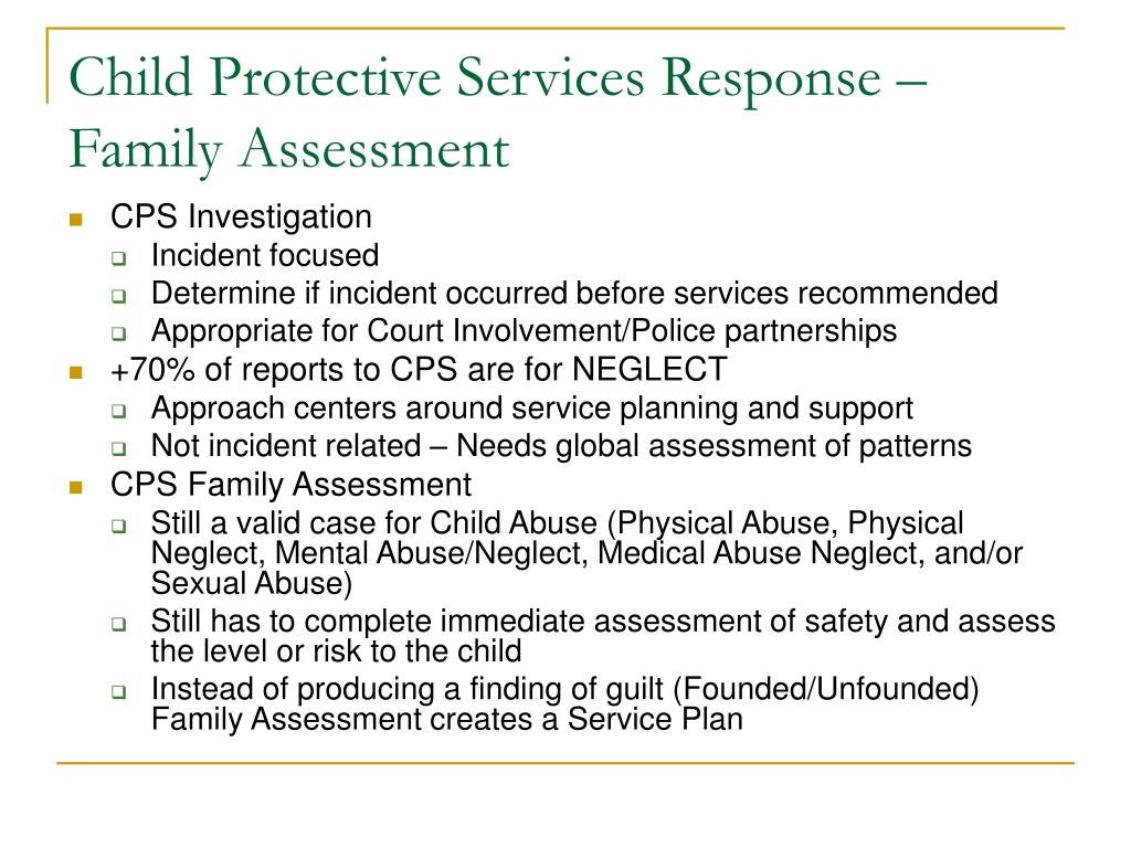 Child Protective Services Response – Family Assessment