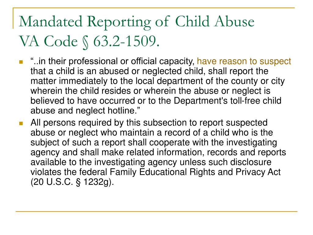 Mandated Reporting of Child Abuse