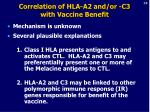 correlation of hla a2 and or c3 with vaccine benefit