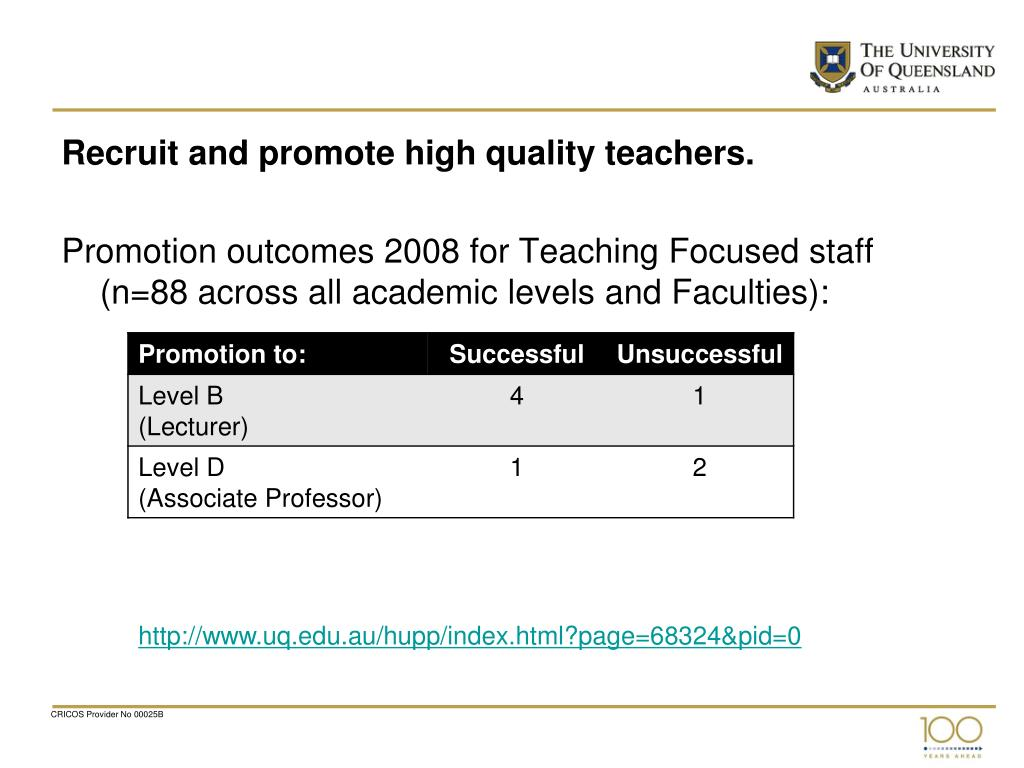 Recruit and promote high quality teachers.