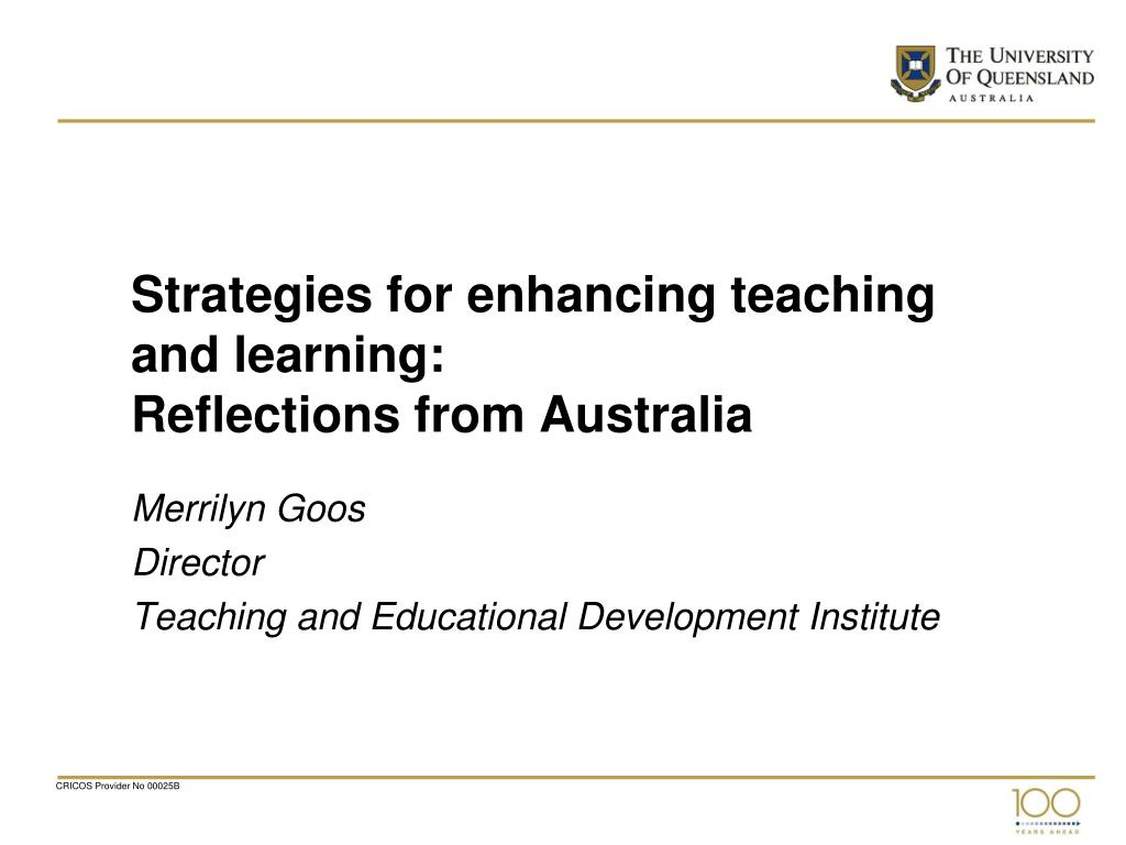 strategies for enhancing teaching and learning reflections from australia