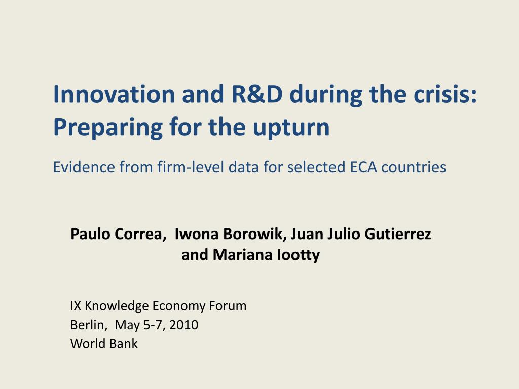 innovation and r d during the crisis preparing for the upturn