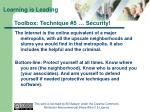 toolbox technique 5 security