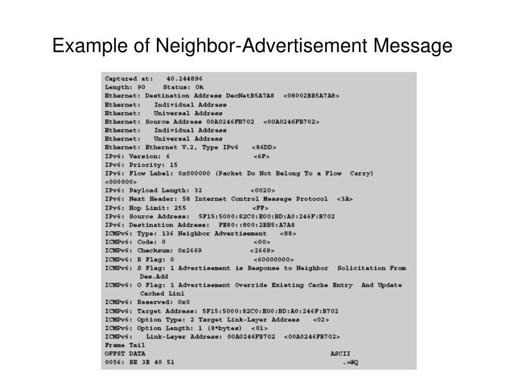 Example of Neighbor-Advertisement Message