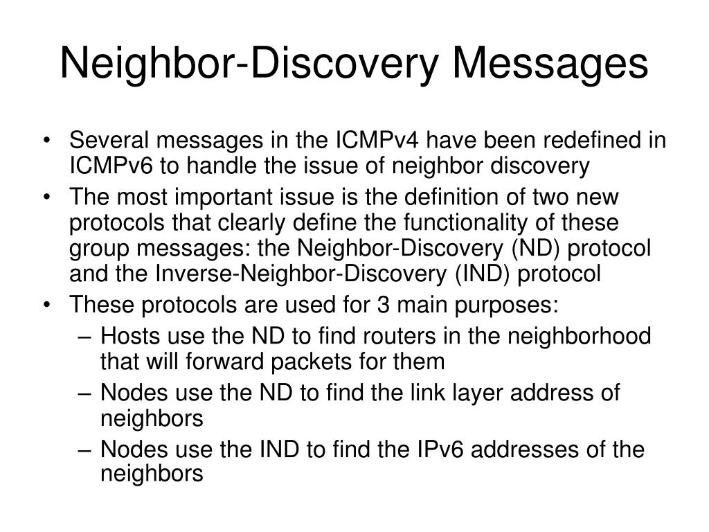 Neighbor-Discovery Messages