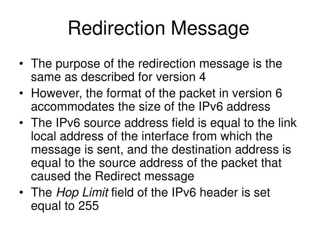 Redirection Message
