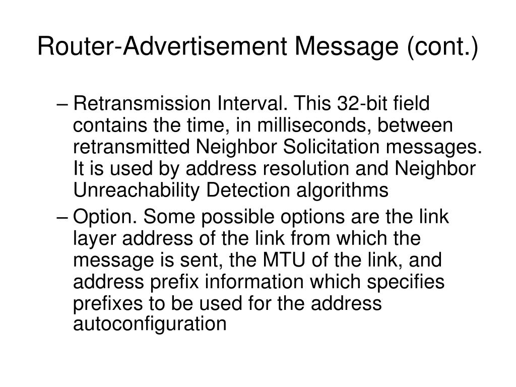 Router-Advertisement Message (cont.)