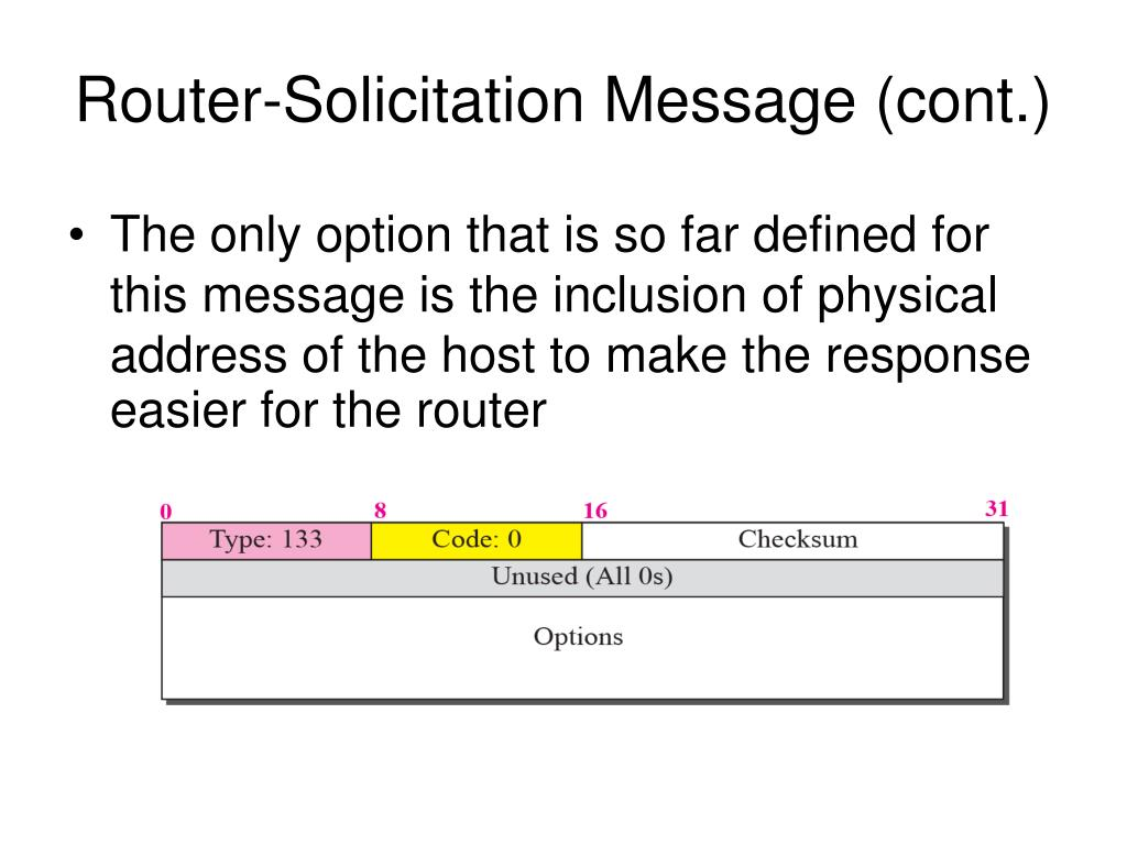 Router-Solicitation Message (cont.)