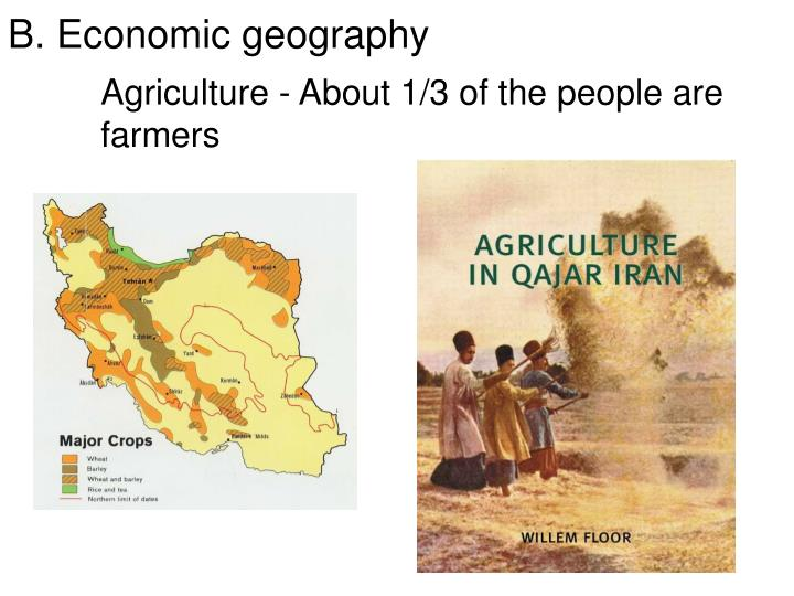 Agriculture - About 1/3 of the people are farmers