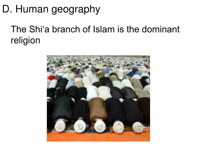 The Shi'a branch of Islam is the dominant religion