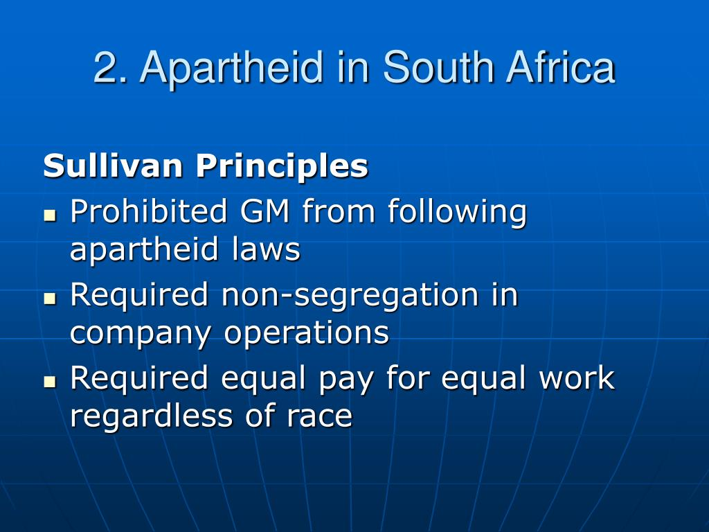 2. Apartheid in South Africa