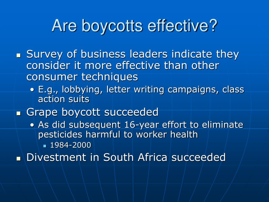 Are boycotts effective?