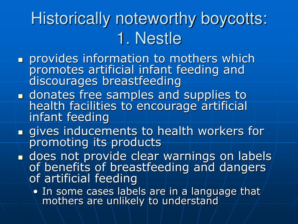 Historically noteworthy boycotts: