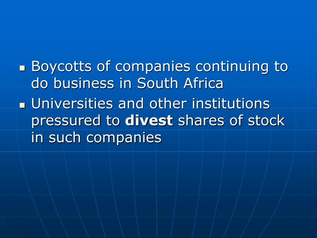 Boycotts of companies continuing to do business in South Africa