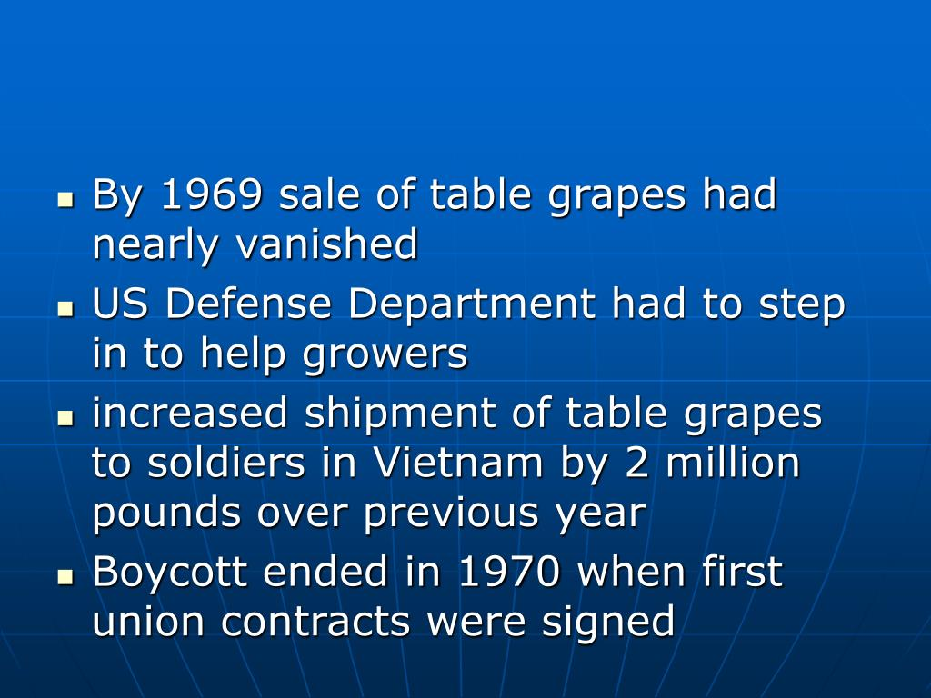 By 1969 sale of table grapes had nearly vanished