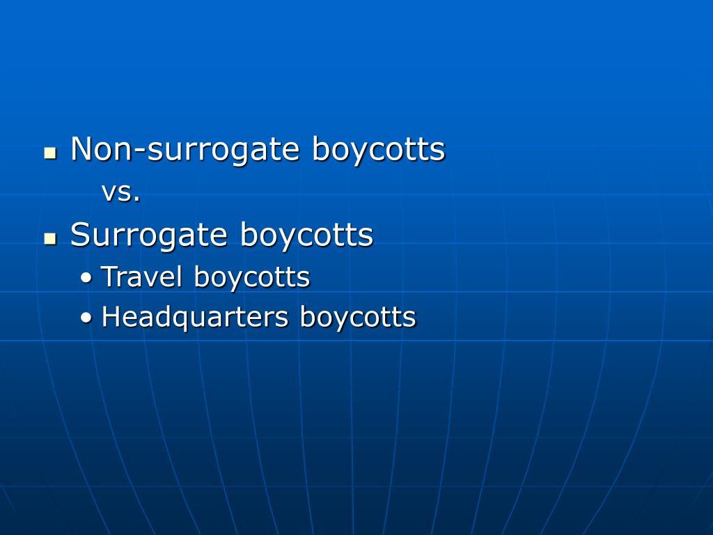 Non-surrogate boycotts
