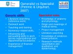 generalist vs specialist petrinic urquhart 2007