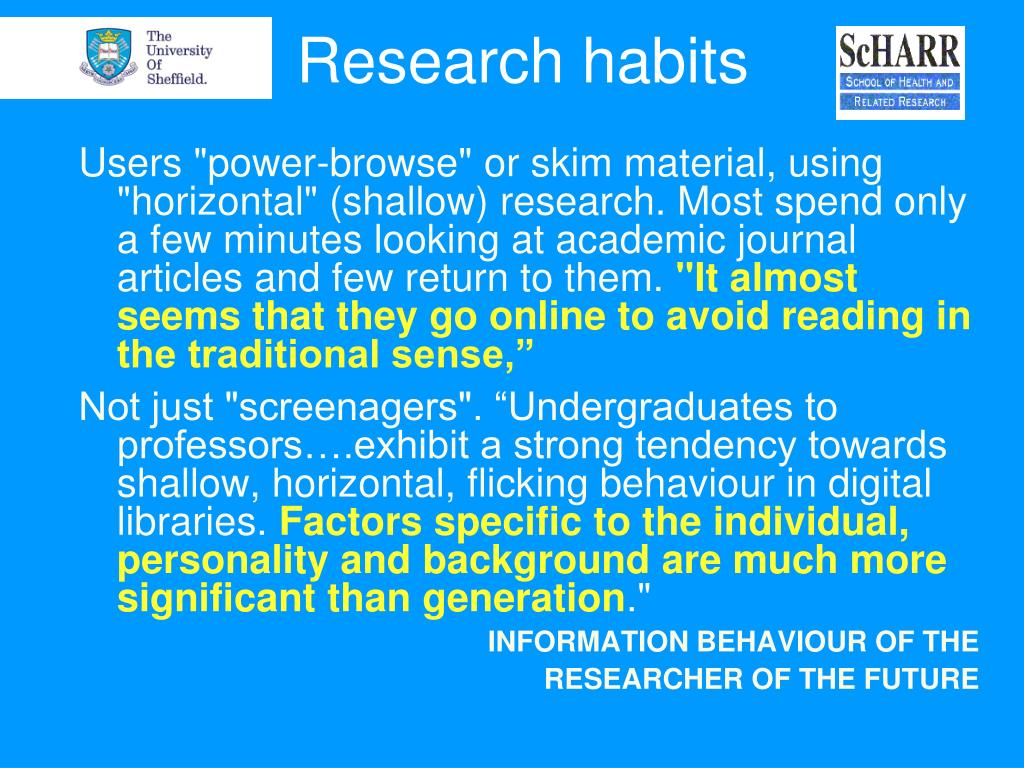 Research habits