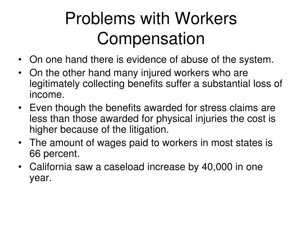 workers compensation problems The nsw workers' compensation scheme has a current deficit of $164 billion the scheme has undergone substantial legislative changes since its inception due to cyclical deficit problems experienced.