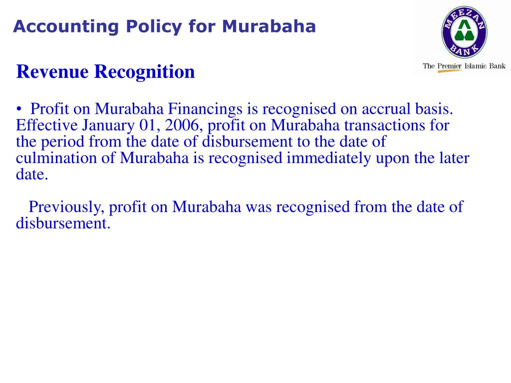 Accounting Policy for Murabaha