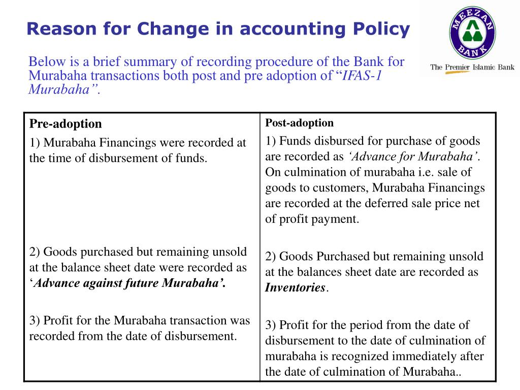 Reason for Change in accounting Policy