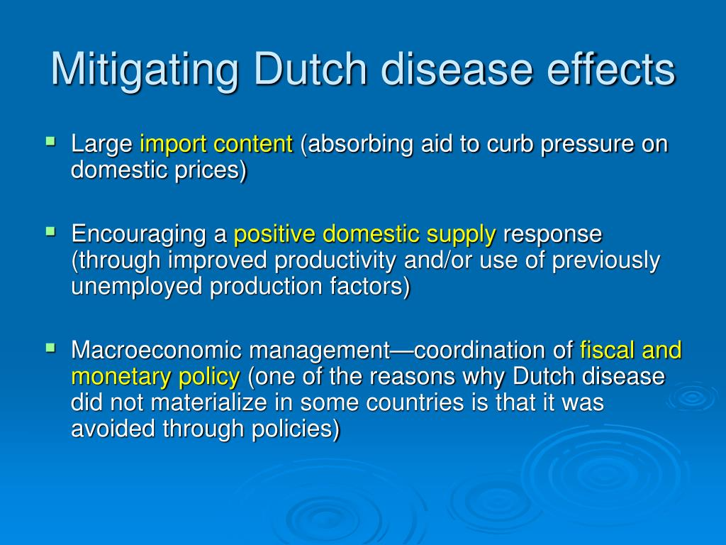Mitigating Dutch disease effects