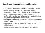 social and economic issues checklist