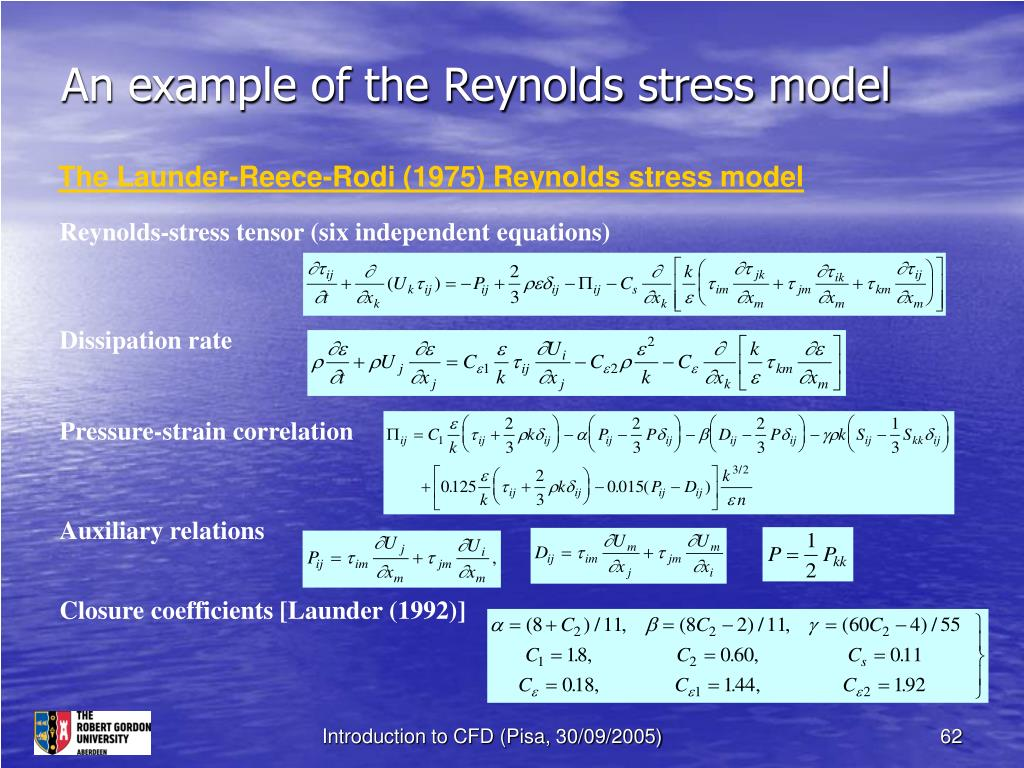 An example of the Reynolds stress model
