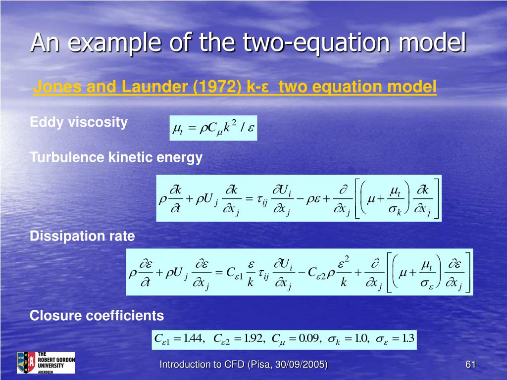 An example of the two-equation model