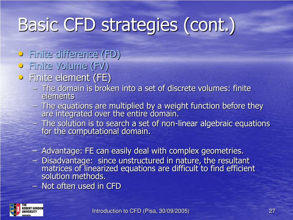 Basic CFD strategies (cont.)